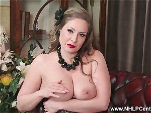 natural large bosoms dark haired Sophia Delane masturbates in nylons