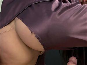 Cynthia Vellons lusty lady on satin riding a hard stiffy