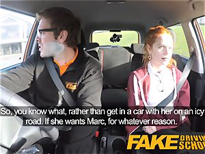 fake Driving college lovely sandy-haired Ella Hughes smashes