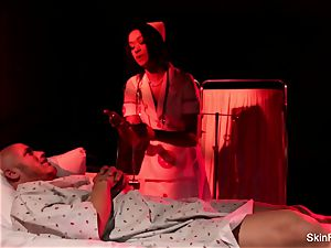 Behind the gigs with sumptuous nurse skin Diamond