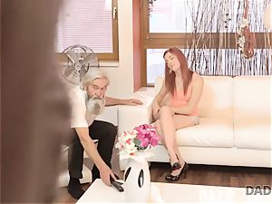 DADDY4K. boy and his aged father squad up to penalize sex-positive girlfriend