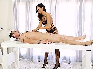 crazy masseuse railing her client