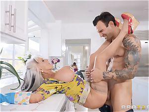 old ash-blonde mom getting torn up in her tasty minge