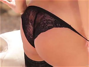 sexy Anissa Kate exposes her jummy chubby bra-stuffers
