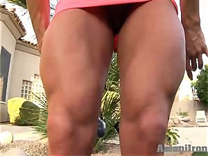 towheaded strong femmes fake penises while she flex's for you