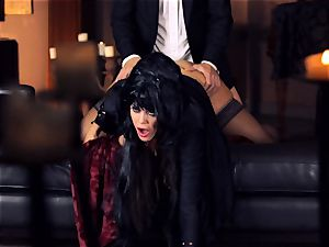 black haired Alison Tyler romps her suited lover