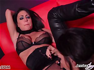 Jessica Jaymes boned by Alison Tyler using a belt dick