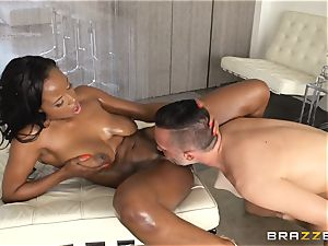 dark-hued sweetheart Jezebel Vessir takes a giant man-meat