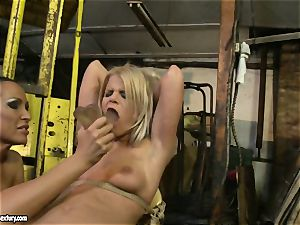 Mandy Bright dildoing a lusty stunner on stool