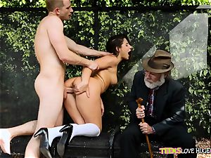 hilarious situation of beaver slammed daughter and her granddad sees at bus stop - Abella Danger and Bill Bailey