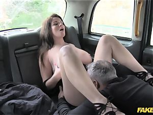 faux cab phat boobs and killer eyes takes man-meat