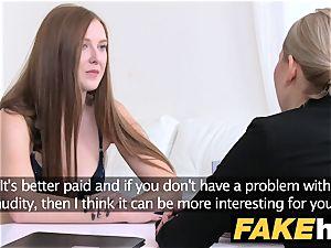 girl Agent molten sandy-haired makes blonde cool cum