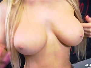 student Alix taunts her humungous breasts and moist gash
