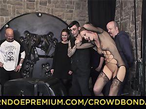 CROWD restrain bondage - extreme sadism & masochism pummel wheel with Tina Kay