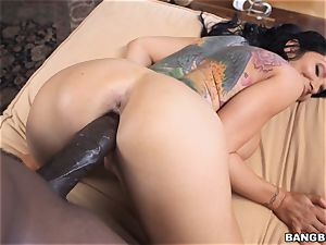 busty brunette Romi Rain thrashed by a masive ebony fuck-stick