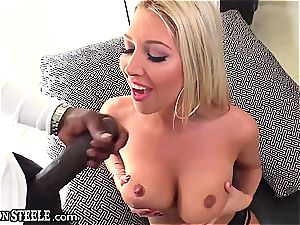 platinum-blonde Lexi is screaming contented with fat beef whistle in her culo