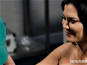Jasmine Jae satisfied with her new assets pleases a monster man-meat medic