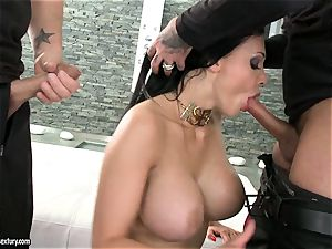 passionate cockslut Aletta Ocean gets two rigid chubs fellating it scorching one at a time