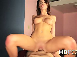 HD pov steaming black-haired with massive milk cans loves to bounce fuckpole