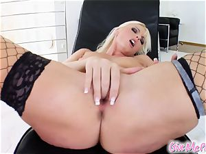blondie is super moist during onanism session