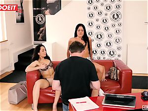 euro honeys love buttfuck three-way during casting