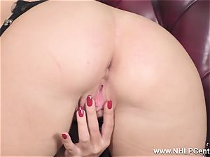 platinum-blonde takes off off undergarments and solos in nylons and heels