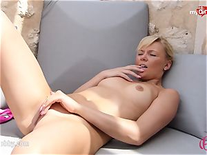 MyDirtyHobby - super-steamy blonde masturbating outdoor!