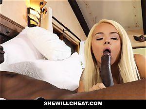 SheWillCheat hotwife wife absorbs ebony knob