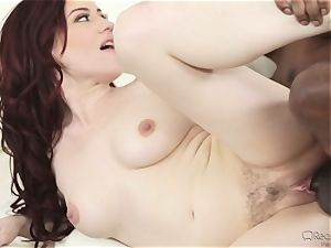 Jessical Ryan ravages a dark rod as her hubby witnesses