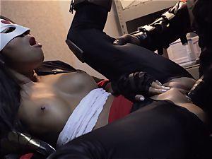Suicide crew parody Sn 4 Ada Akira riding ebony spunk-pump