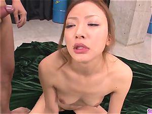 Mio Kuraki gets cum on face after severe blow-job