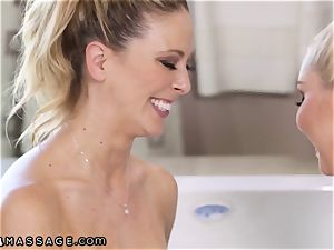 Cherie DeVille and Aaliyah love slide with Nuru Gel