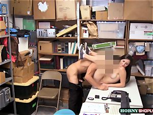 buxom Jade Amber gets her cock-squeezing poon pulverized by bulky officers thick cock