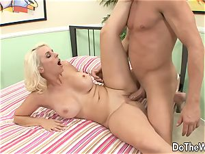 ash-blonde mummy takes hefty man-meat in front of spouse