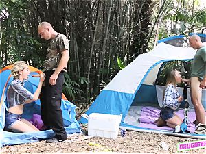 Alyssa Cole and Haley Reed interchange dads on their camping excursion