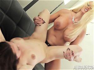 Alura Jenson slit filled with belt cock intense muscular lady Brandi May