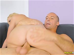 super hot blonde Brice Bardot sits on the immense meatpipe of Sean