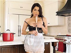 Valentina Nappi vibes her vulva in the kitchen
