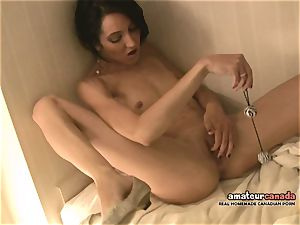 skinny French female with lil' funbags shoots a load using ben