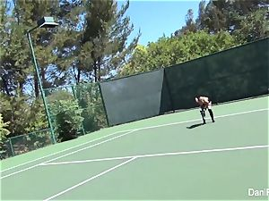 topless tennis with Dani Daniels and Cherie DeVille