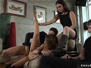 dominatrix maked stunner group sex in furniture shop