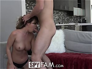 SpyFam Step step-sister nosey about step brother pecker