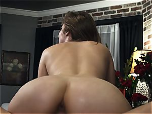Lena Paul plowing her boy in Amazon stance