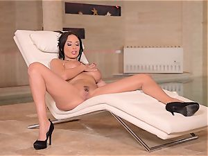 big-chested French milf fingers Her humid gash