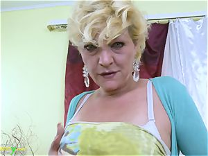 OldNannY blondie Mature Solo Titplay and finger-tickling