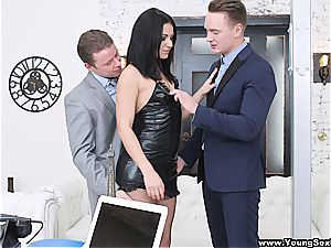 sex-positive dame torn up by two businessmen
